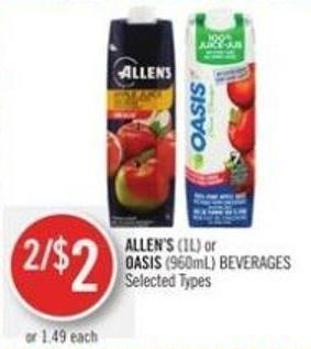 Allen's (1l) or Oasis (960ml) Beverages