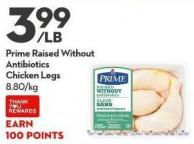 Prime Raised Without  Antibiotics  Chicken Legs