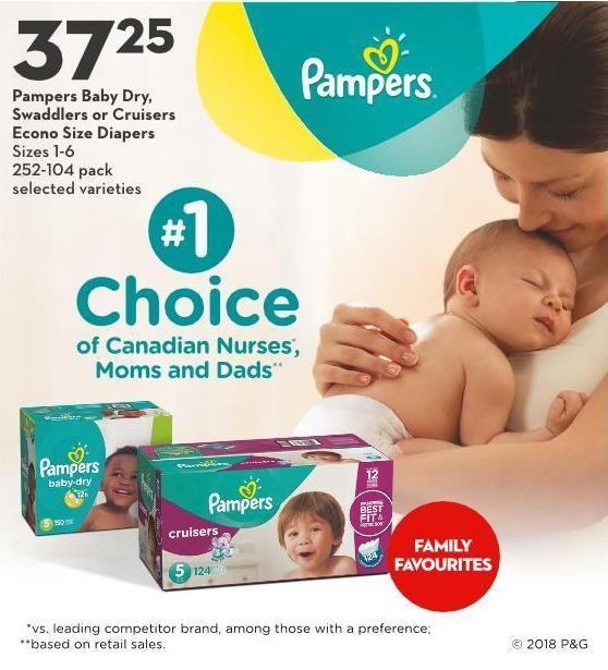 Pampers Baby Dry - Swaddlers or Cruisers Econo Size Diapers Sizes 1-6 252-104 Pack