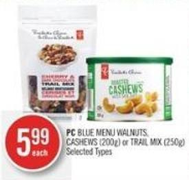 PC Blue Menu Walnuts - Cashews (200g) or Trail Mix (250g)