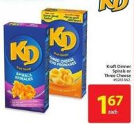 Kraft Dinner Spirals or Three Cheese
