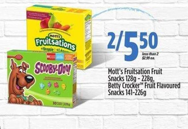 Mott's Fruitsation Fruit Snacks - 128g - 228g Betty Crocker Fruit Flavoured Snacks - 141-226g