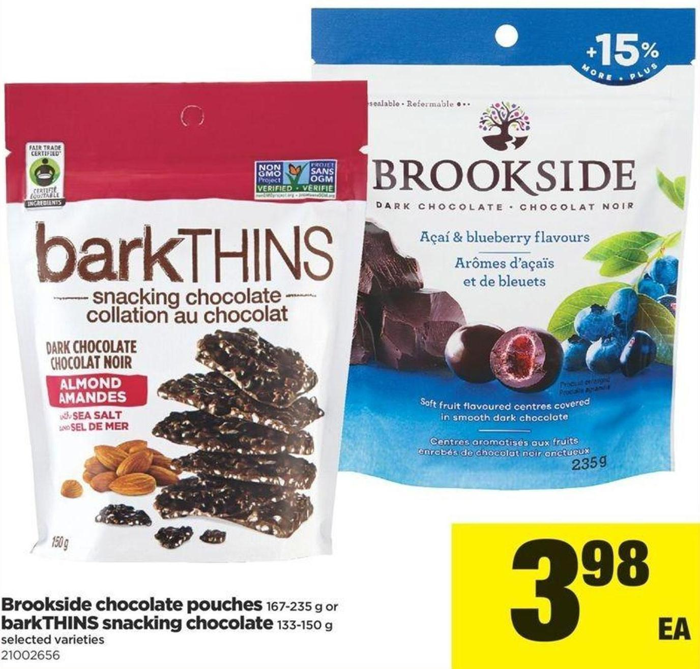 Brookside Chocolate Pouches 167-235 G Or Barkthins Snacking Chocolate 133-150 G
