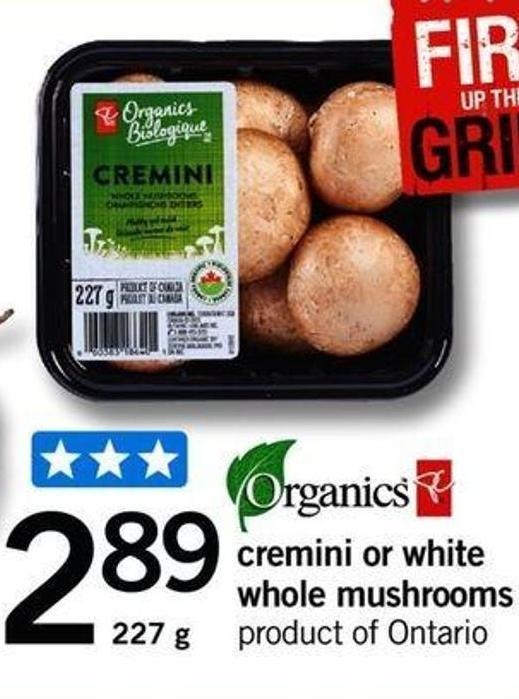 Cremini Or White Whole Mushrooms - 227g