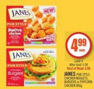 Janes Pub Style Chicken Nuggets - Burgers or Popcorn Chicken 800g