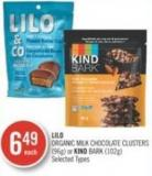 Lilo Organic Milk Chocolate Clusters (96g) or Kind Bark (102g)