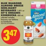 Blue Diamond Almond Breeze Non-dairy Beverages 1.89 L or Gt's Organic Kombucha 480 mL