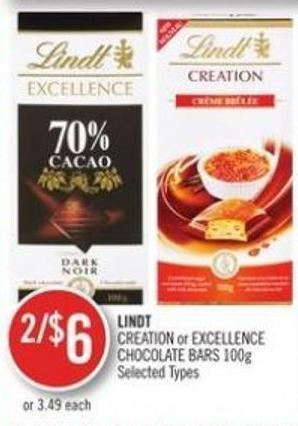 Lindt Creation or Excellence Chocolate Bars