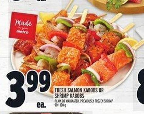 Fresh Salmon Kabobs or Shrimp Kabobs