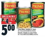 Primo Beans - Tomatoes Or Sauce 540 - 796 ml