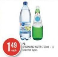 PC Sparkling Water 750ml - 1l