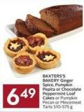 Baxters's Bakery Ginger Spice - Pumpkin Pepita or Chocolate Peppermint Loaf Cakes or Pumpkin Pecan or Mincemeat Tarts 510-575 g