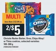 Christie Nutter Butter - Oreo - Chips Ahoy! Or Thins Cookies - 100-300 G