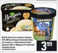 Ben & Jerry's Ice Cream Or Dessert 473-500 Ml - Breyers Creamery Style Ice Cream Or Confectionery Frozen Dessert 1.66 L Or Magnum 3's