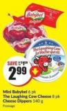 Mini Babybel 6 Pk The Laughing Cow Cheese 8 Pk Cheese Dippers 140 g