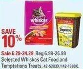 Selected Whiskas Cat Food and Temptations Treats