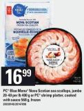 PC Blue Menu Nova Scotian Sea Scallops - Jumbo 20-40 Per Lb 400 G Or PC Shrimp Platter - Cooked With Sauce 568 G