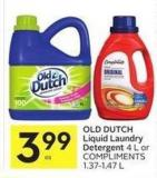 Old Dutch Liquid Laundry Detergent 4 L or Compliments 1.37-1.47 L