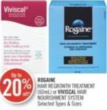 Rogaine Hair Regrowth Treatment (60ml) or Viviscal Hair Nourishment System