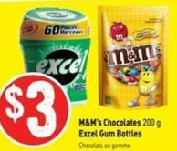 M&m's Chocolates 200 g Excel Gum Bottles