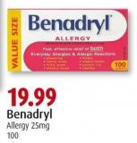 Benadryl   Allergy 25mg   100
