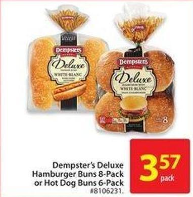 Dempster's Deluxe Hamburger Buns 8-packor Hot Dog Buns 6-pack