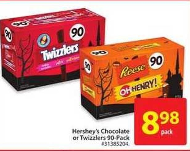 Hershey's Chocolate or Twizzlers 90-pack