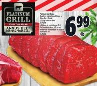 Platinum Grill Angus Boneless Inside Round Roast Or Value Pack Steak Cut From Canada Aaa Grade