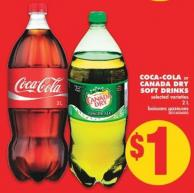 Coca-cola or Canada Dry Soft Drinks 2 L