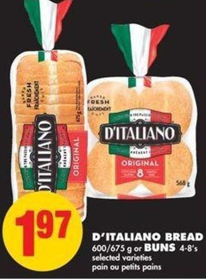D'italiano Bread - 600/675 G Or Buns - 4/8's