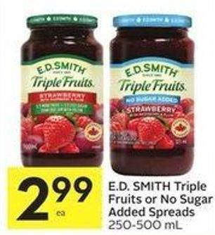 E.d. Smith Triple Fruits or No Sugar Added Spreads 250-500 mL
