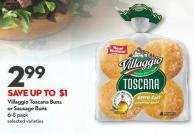Villaggio Toscana Buns  or Sausage Buns  6-8 Pack