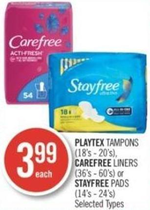 Playtex Tampons (18's - 20's) - Carefree Liners (36's - 60's) or Stayfree Pads (14's - 24's)