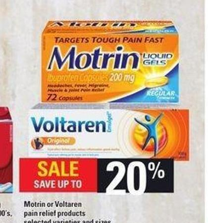 Motrin Or Voltaren Pain Relief Products