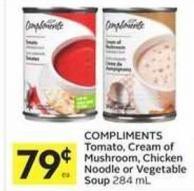 Compliments Tomato - Cream of Mushroom - Chicken Noodle or Vegetable Soup 284 mL