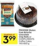 Promise Gluten Free Brioche Chocolate Chip Rolls or Compliments Coffee Cakes 140-850 g