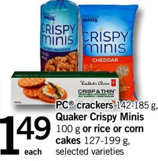 PC Crackers - 142-185 G - Quaker Crispy Minis - 100 G Or Rice Or Corn Cakes - 127-199 G