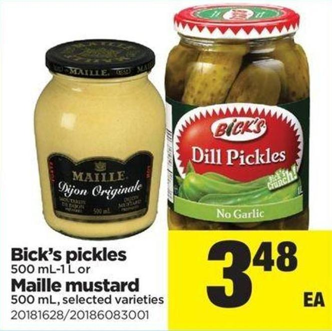 Bick's Pickles 500 Ml-1 L Or Maille Mustard 500 Ml