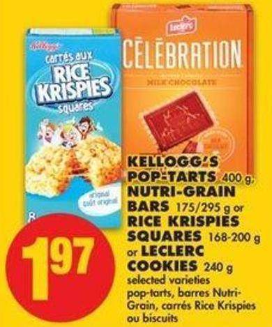 Kellogg's Pop-tarts - 400 G - Nutri-grain Bars - 175/295 G Or Rice Krispies Squares - 168-200 G Or Leclerc Cookies - 240 G