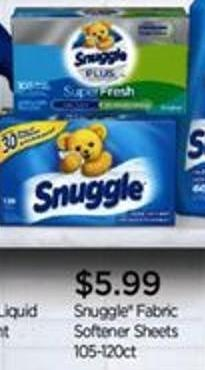 Snuggle Fabric Softener Sheets - 105-120ct