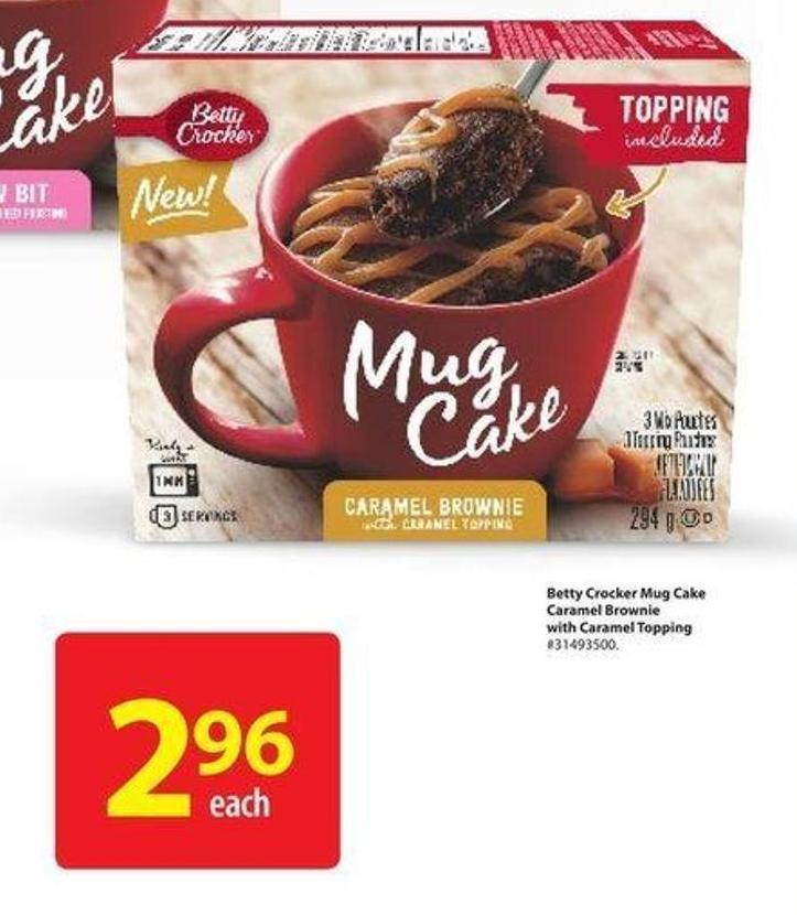 Betty Crocker Mug Cake Caramel Brownie With Caramel Topping