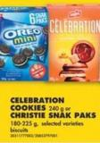 Celebration Cookies - 240 g or Christie Snak Paks - 180-225 g