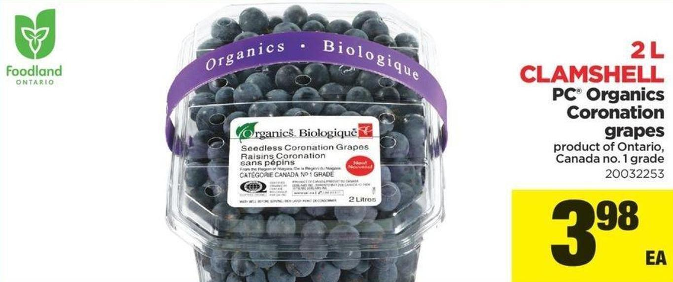 PC Organics Coronation Grapes - 2 L Clamshell