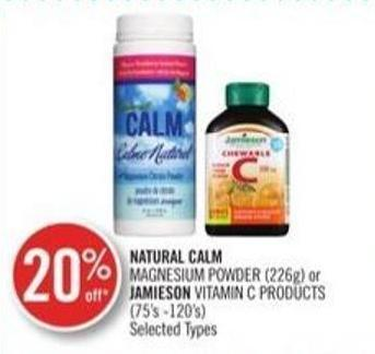Natural Calm Magnesium Powder (226 g ) or Jamieson Vitamin C Product )(75's - 120s)