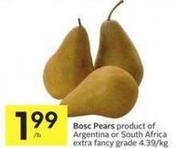 Bosc Pears Product of Argentina or South Africa Extra Fancy Grade 4.39/kg