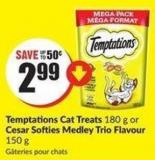 Temptations Cat Treats 180 g or Cesar Softies Medley Trio Flavour 150 g