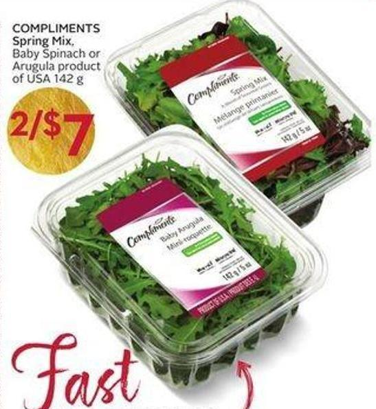 Compliments Spring Mix - Baby Spinach or Arugula Product of USA 142 g