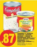 Campbell's Tomato - Vegetale - Chicken Noodle Or Cream Of Mushroom Soup - 284 Ml Or Grace Chicken Vienna Sausages - 130 G Or Paris Pate Spread - 78 G