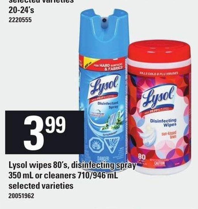 Lysol Wipes 80's - Disinfecting Spray 350 Ml Or Cleaners 710/946 Ml