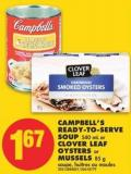 Campbell's Ready-to-serve Soup - 540 mL or Clover Leaf Oysters or Mussels - 85 g